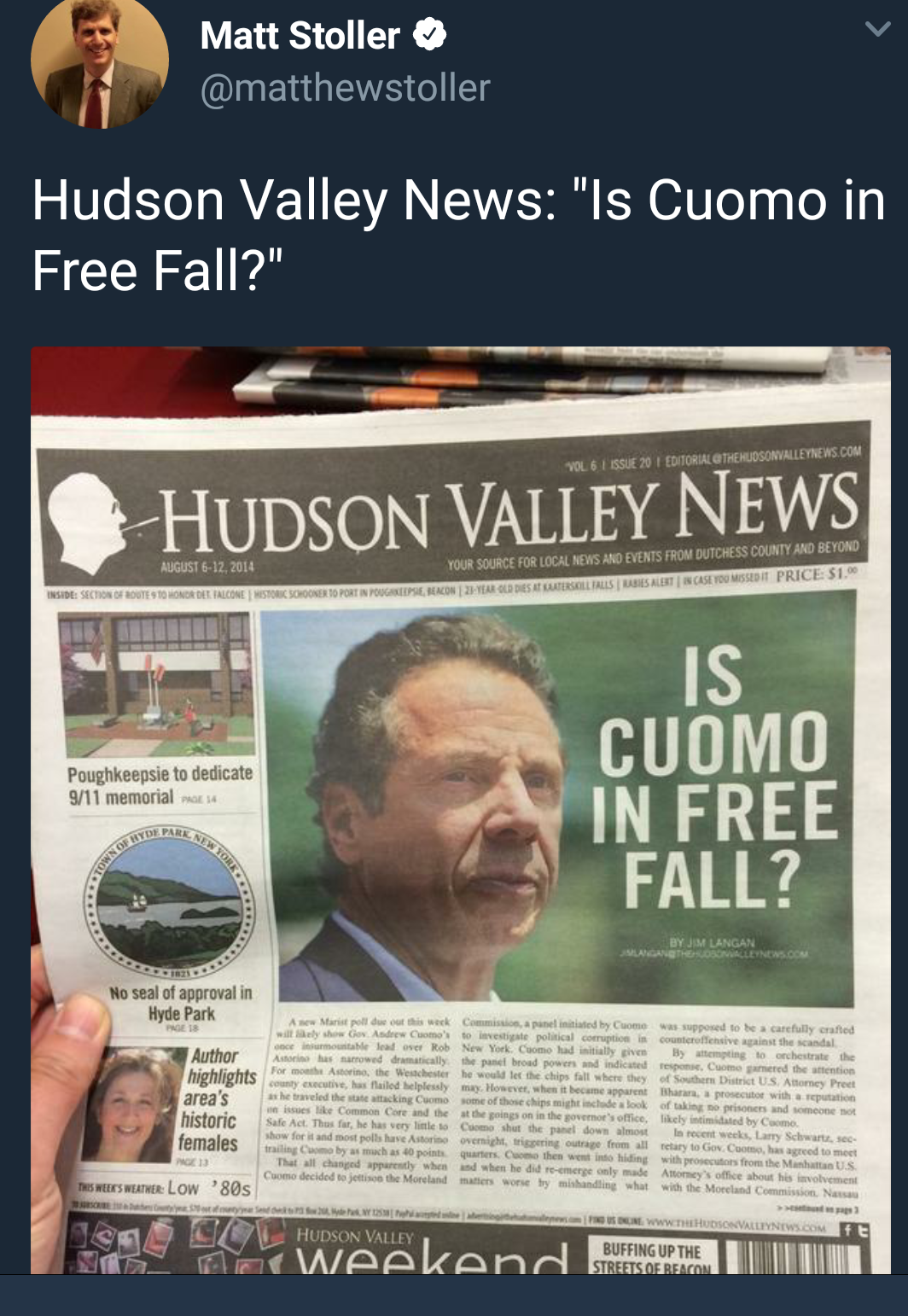Hudson Valley News: Is Cuomo in Free Fall?