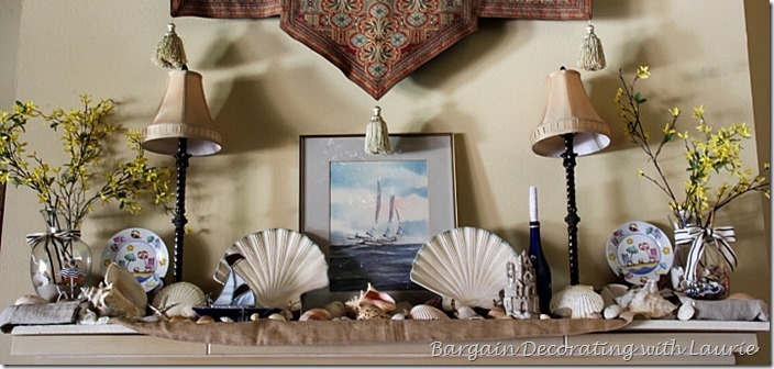 Beach decor on mantel