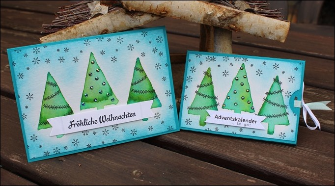 Adventskalender to go Stampin Up Christbaumfestival Watercolor Modern Christmas 00