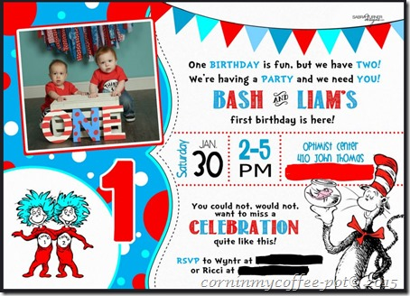 twin cousin party invite