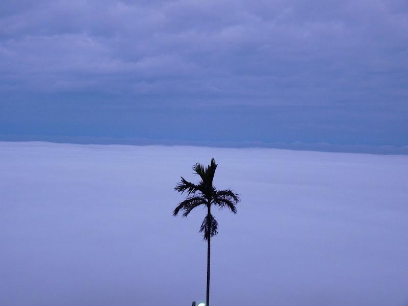 Au petit matin, au dessus des nuages,vue du temple où nous avons dormi