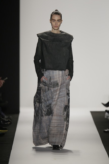 A model walks the runway during the Academy Of Art University Fall 2014 Collections during Mercedes-Benz Fashion Week Fall 2014 at The Theatre at Lincoln Center on February 7, 2014 in New York City.