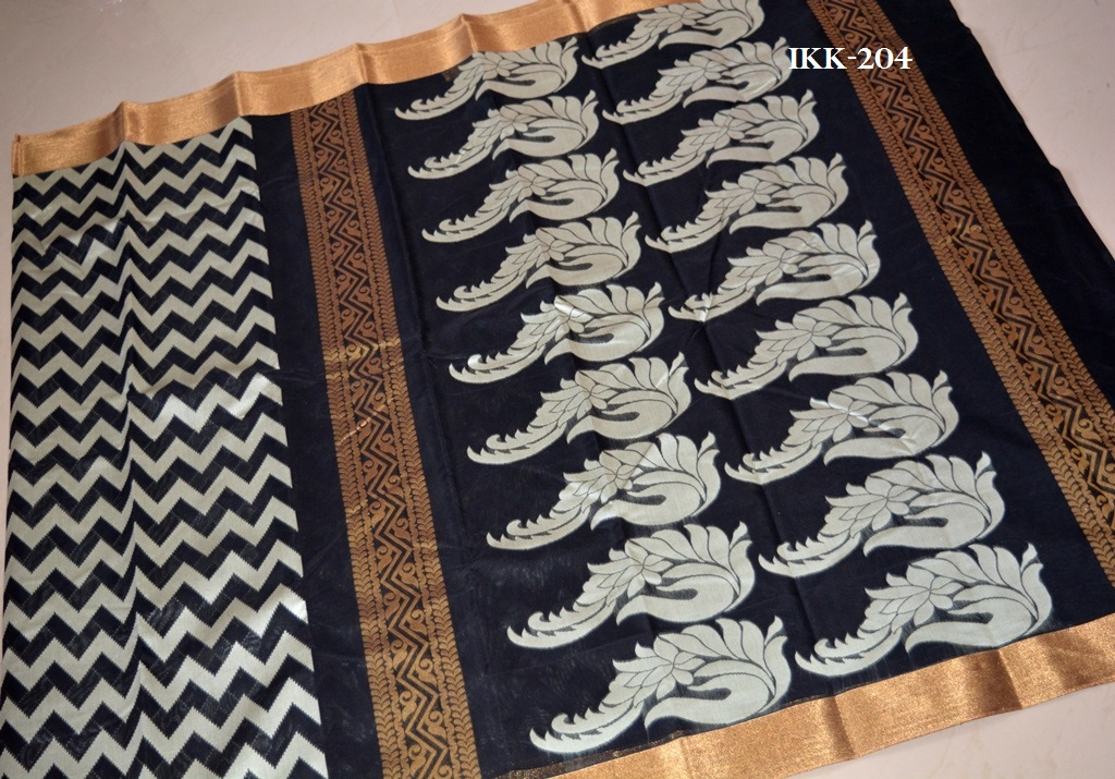 896f470059e071 PB   Ikkat Kora Cotton Saree   Rs. 1700