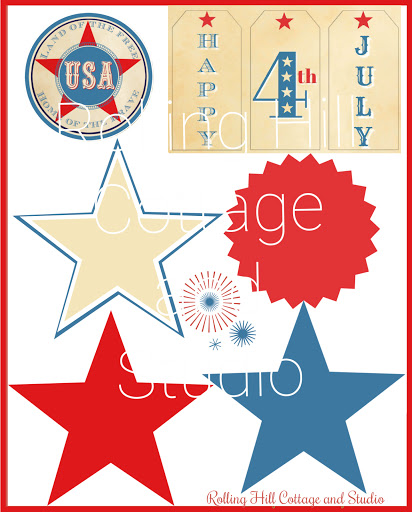 Fourth of July Rosette Digital Page