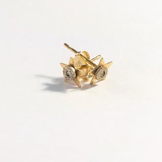 14K Gold and Diamond Star Earrings