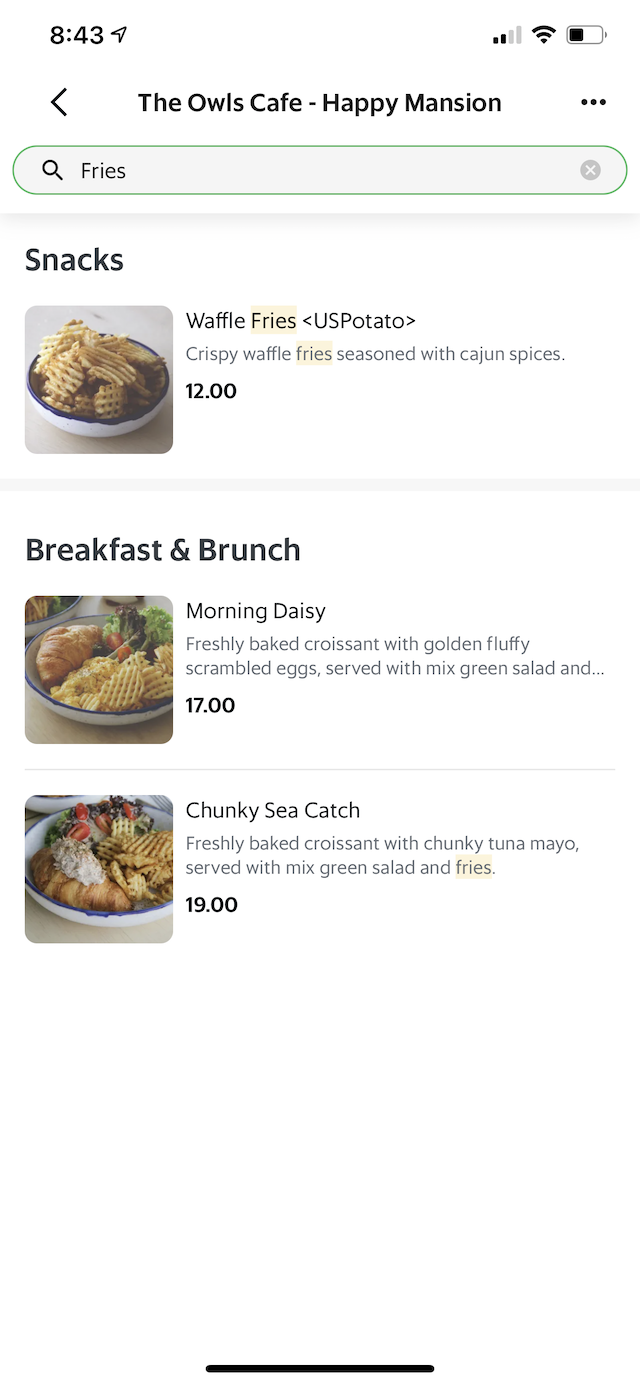 A sample screen of how easy it is to order from Grab app