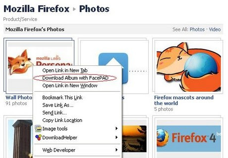 Download album with facepad firefox add on context menu