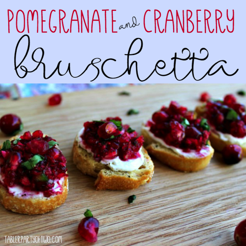 Square Pomegranate and Cranberry Bruschetta