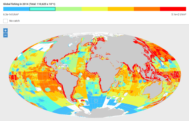 Global fishing in 2014 (Total: 110,625 x 10³ t). Graphic: Sea Around Us