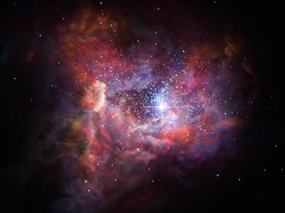 ilustração da distante galáxia poeirenta A2744_YD4