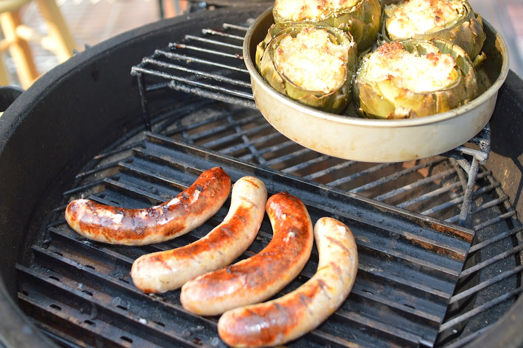 Pre-Game Bratwurst Cooking Away with Stuffed Artichoke Dip