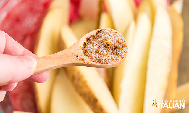 red robin fries seasoning in a spoon