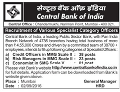 Central bak of India Specialist Officer 2016-17