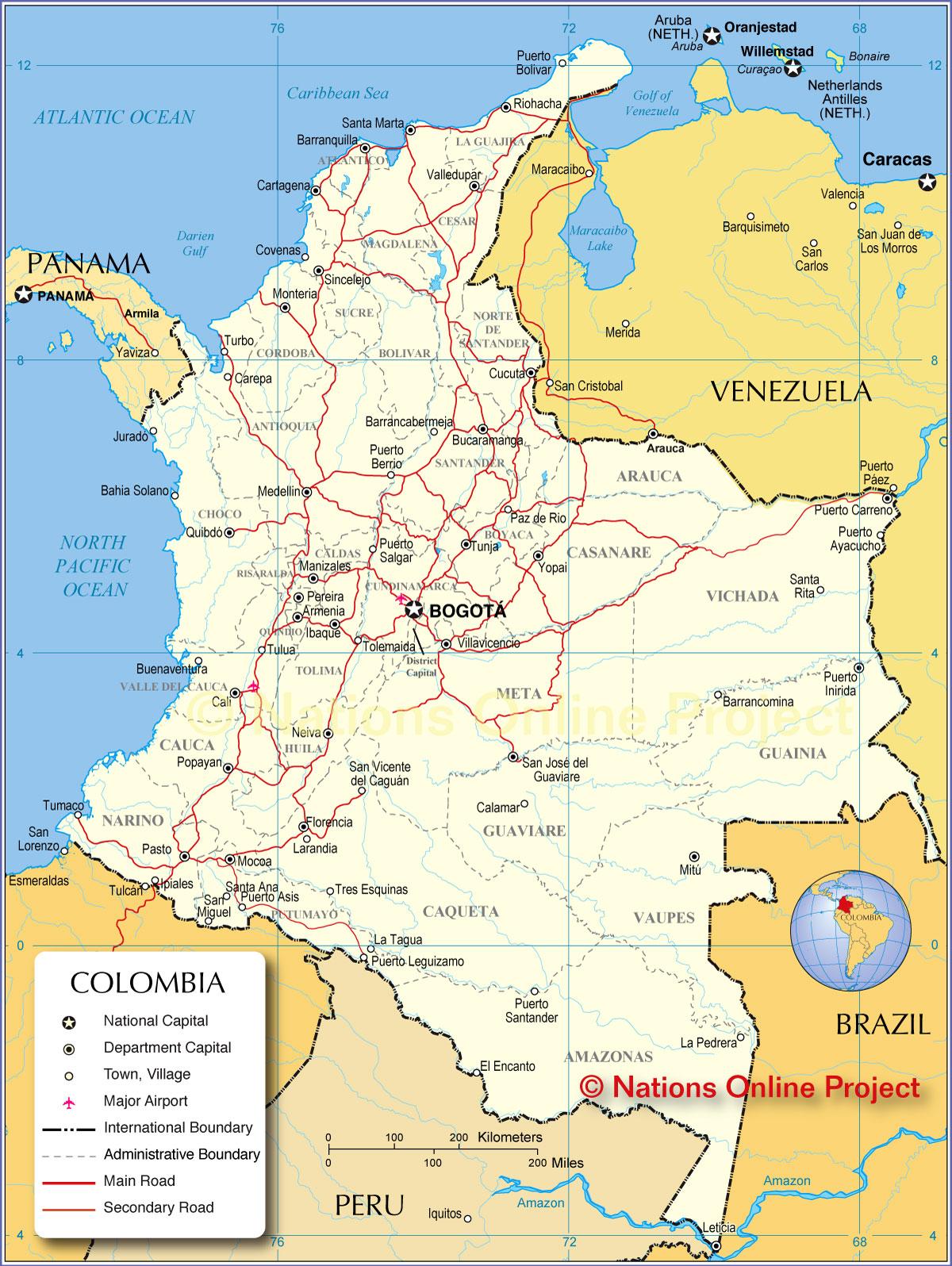 mapa politico de colombia 20171