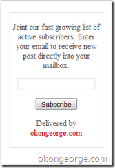 Email Subscription Invitation to My Feedburner Mailing List