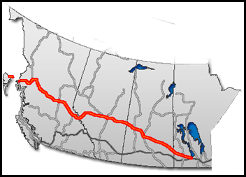 Map of Yellowhead Highway, Canada