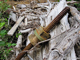Another view of the threaded iron rod and brass nut that remain of the penstock intake controls.