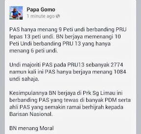 Terkini! Papa Gomo Sahkan BN Menang Di Sungai Limau