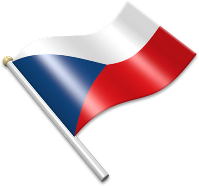 The Czech flag on a flagpole clipart image