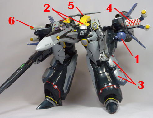 Macross Frontier VF-25S Armored Messiah Armament weapon position