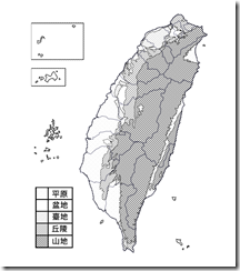 臺灣地形分布圖_淡黑白_無字