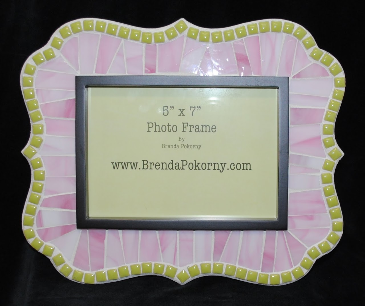 "Powderpuff Pink and Lime Green 5"" x 7"" Mosaic Photo Frame MOF1437"