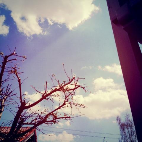 Weiß-Blauer Himmel auf dem bayrischen Land
