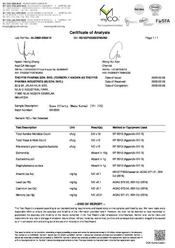 susu-efferty-lab-test-result