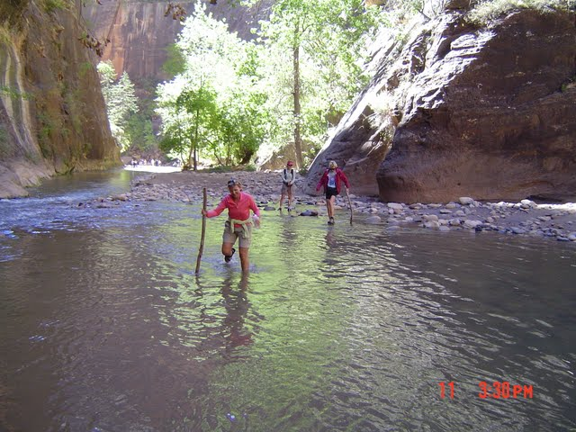 """hiking """"the narrows"""" in Zion national park"""
