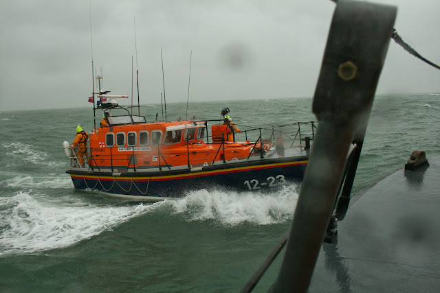 Poole ALB in a training exercise with Swanage lifeboat - 26 January 2014.  Photo credit: RNLI Poole/Rob Inett