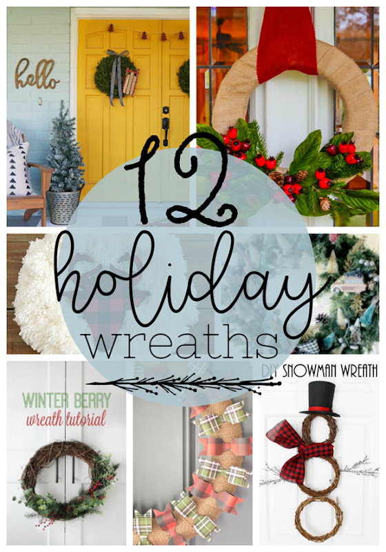 12 Holiday Wreaths at GingerSnapCrafts.com #wreaths #holiday #DIY