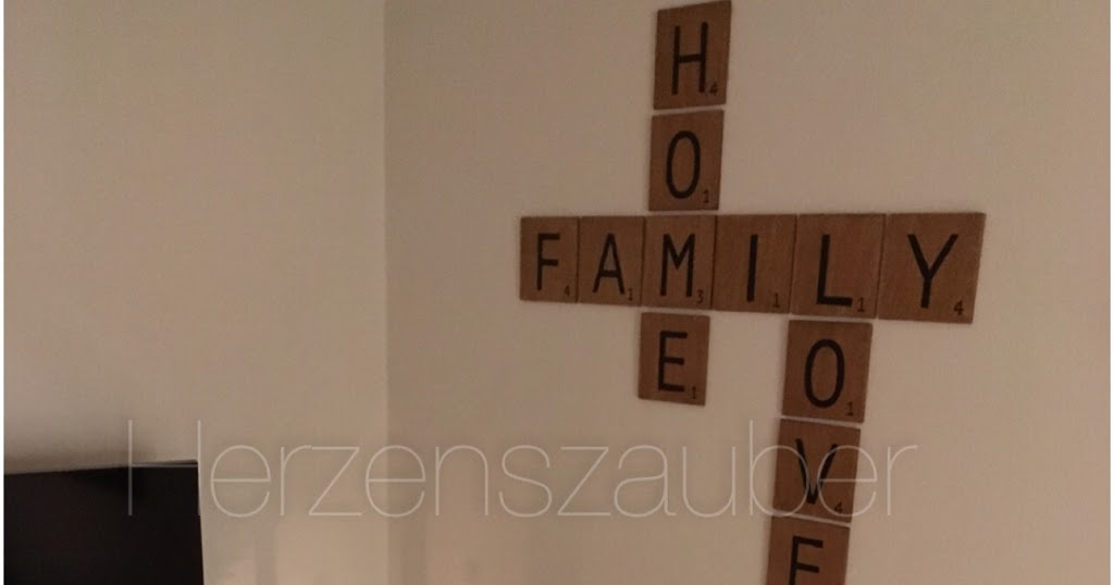 herzenszauber scrabble wanddeko diy. Black Bedroom Furniture Sets. Home Design Ideas