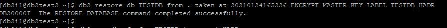 Restore DB2 Database as Encrypted database with MASTER KEY