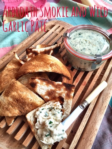 www.foodiequine.co.uk Arbroath Smokie & Wild Garlic Pate - or dip. Make the most of one of nature's most bountifulseasonal free foods - Wild Garlic. Combined with traditional Scottish Arbroath Smokies to make a fantasticaly tasty fishy pate or dip.