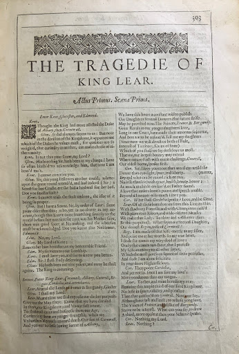 Title Page of King Lear from the Second Folio