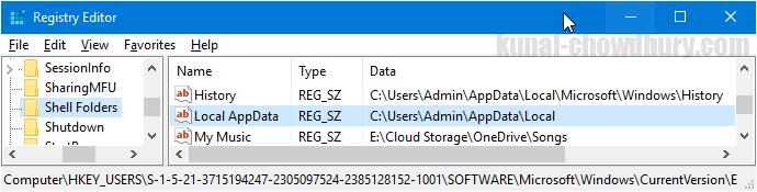 Registry Path to retrieve users AppData directory (www.kunal-chowdhury.com)