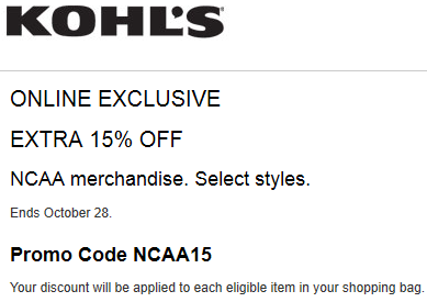 Kohls Coupon Extra 15% Off NCAA Merchandise 2015