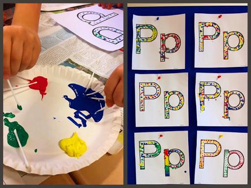 P wie Punkte! Punkte tupfen mit Wattestäbchen und Acrylfarbe