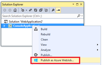 Publish Azure WebJob