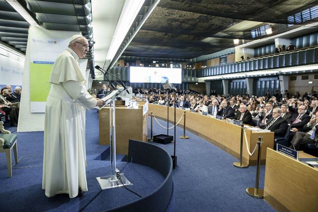 Address by His Holiness Pope Francis. World Food Day Ceremony, FAO Headquarters (Plenary hall), 16 October 2017. Photo: Giuseppe Carotenuto / FAO