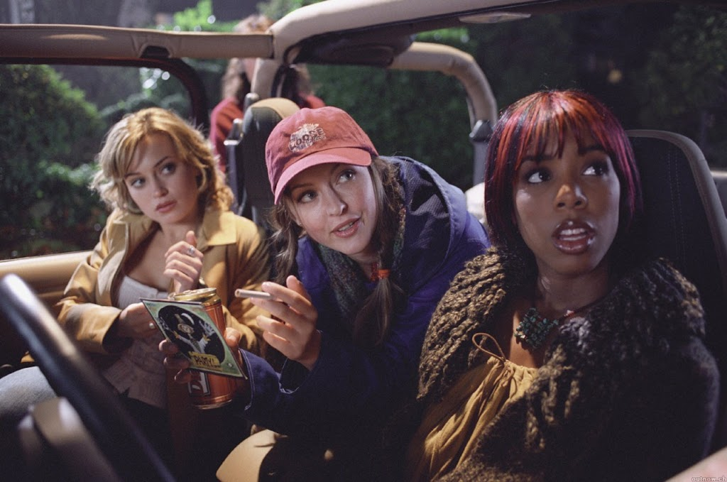 Freddy's girls, Monica Keena (ENTOURAGE), Katherine Isabelle (GINGER SNAPS, HANNIBAL) and DESTINY'S CHILD Kelly Rowland arrive at the rave in the cornfield.
