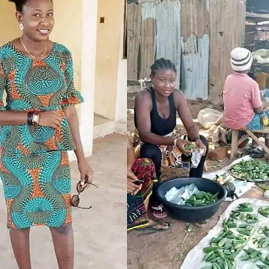 Nigerian reacts as Beautiful Lady spotted selling Okra on the street