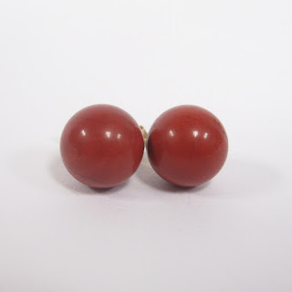 14K Gold and Red Stone Stud Earrings