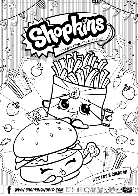 Shopkins Coloring Pages Season  Wise Fry Cheddar