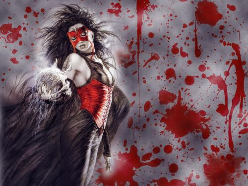 Bloody Demoness In Red Mask, Demonesses