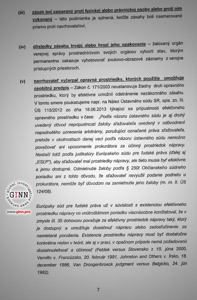 Žaloba GINN vs Robert Kaliňák a Ministerstvo vnútra, strana 7