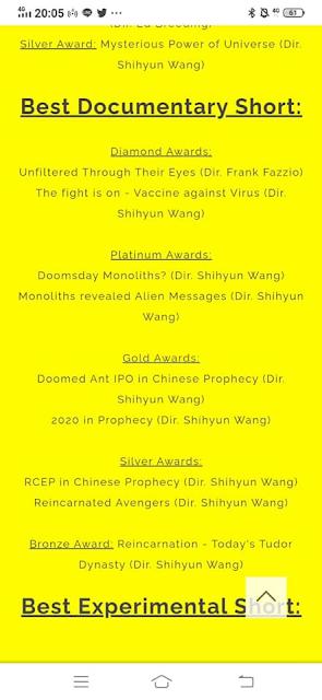 感謝國際大導演王世昀拍攝「神祕宇宙能量」紀錄片  獲獎