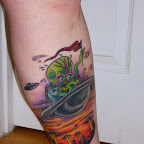 alien tattoo leg ufo attack - tattoos ideas