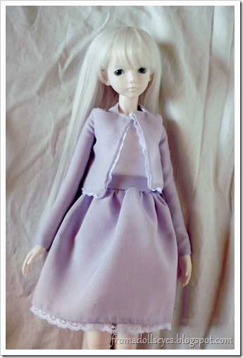 Purple Lace Trimmed Jacket and Skirt for a Ball Jointed Doll