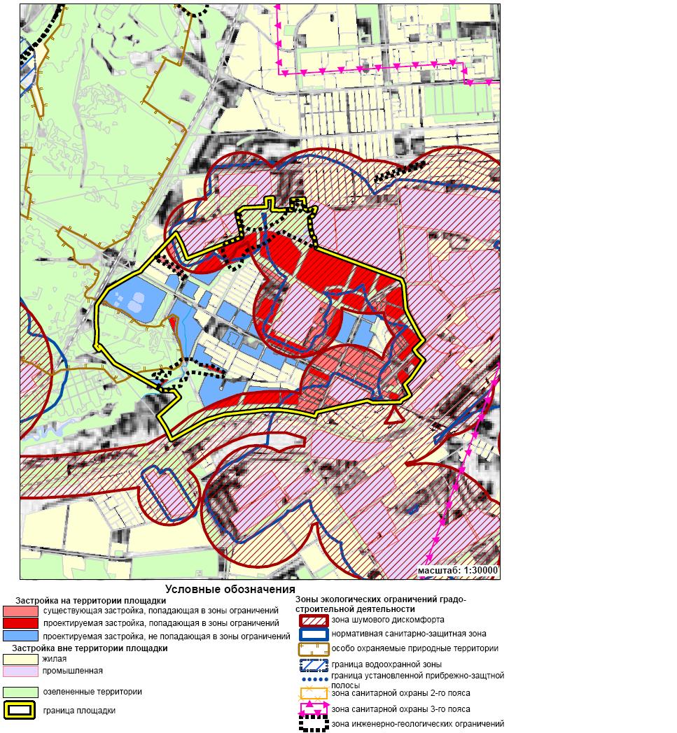 Карта-схема зон экологических ограничений градостроительной деятельности (площадка «Складская»)